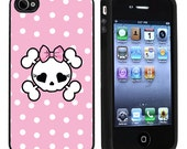 Rubber Pink Polka Dot Girlie Skull iPhone 4 or 4s Case / Cover Verizon or At&T