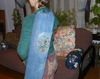 yoga mat bag from recyled denim pants