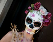 Spring Queen Day of the Dead Mask - Dia de los muertos Face mask - Dusty Pink Roses Lace Summer Hat Hand painted