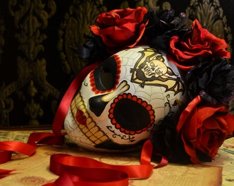 Lady Tabitha - Day of the Dead Mask - Dia de los muertos Mask - Bat Skull Tattoo Flash Art with Black and Fire Red Roses