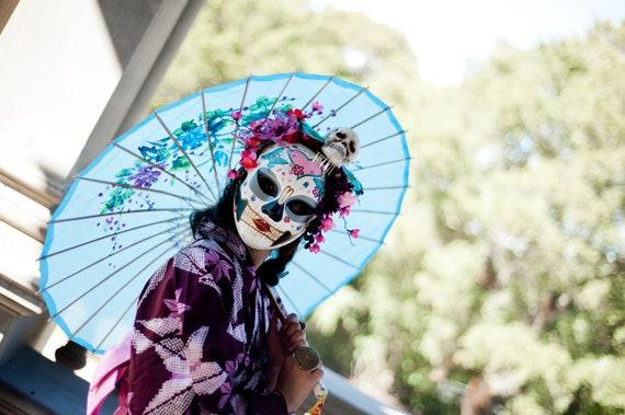 Sakura Spirit - Day of the Dead Skull Mask Geisha Cherry Blossom Bride - Dia de los Muertos Kabuki Colorful and Bonus Kanzashi Bira Bira