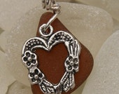 Beach, Sea Glass Pendant with Heart Charm