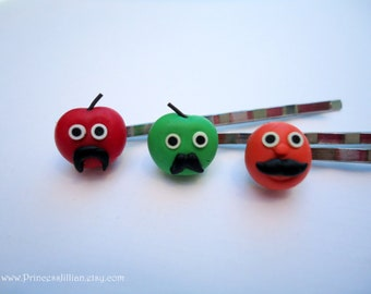 Cute Kawaii and Kitsch bobby pins - Mustache fruits red orange and green fun cute polymer clay decorative embellish hair decor TREASURY ITEM