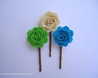 Felt hair slides - Petite ivory blue green flowers adorned decorative simple minimalist hair accessories TREASURY ITEM