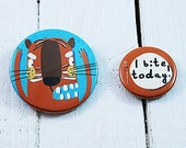 I bite today - badge set with a tiger