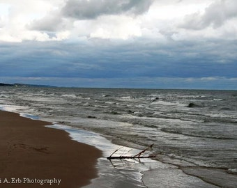 Stormy beach lake michigan photography print