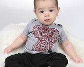Elephant on Heather Grey American Apparel Lap T Shirt 3-6m, 6-12m, 12-18, 18-24m