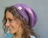 Slouch Hat in Purple - Lucky Elephant Vegan Slouch Hat with Elephant Button