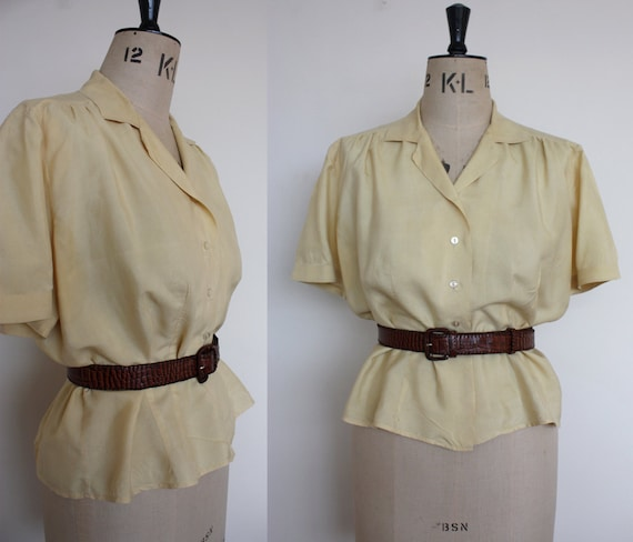 Vintage 1940s Pale Yellow Silk Blouse Size Medium Women's UK 12