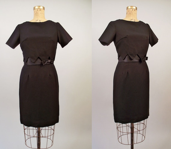 1960s Cocktail Dress // 60s Black Wiggle Dress