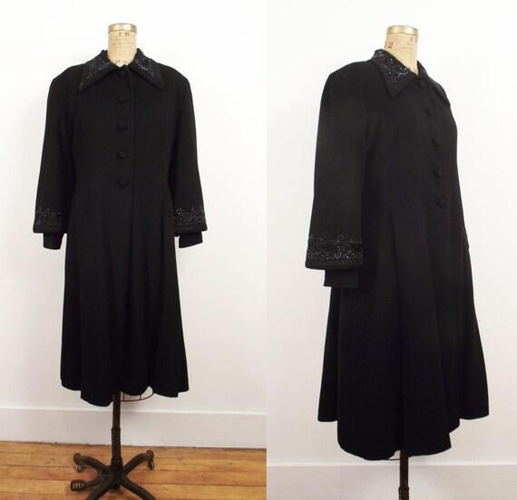 1940s Princes Coat / 40s Black Wool Soutache Coat