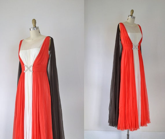 tri color vintage goddess gown in red, white, and black flowing chiffon