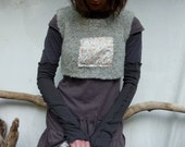 Rain Bodice, hand knitted crop bodice in gray wool and alpaca with Liberty of London floral panel READY TO SHIP