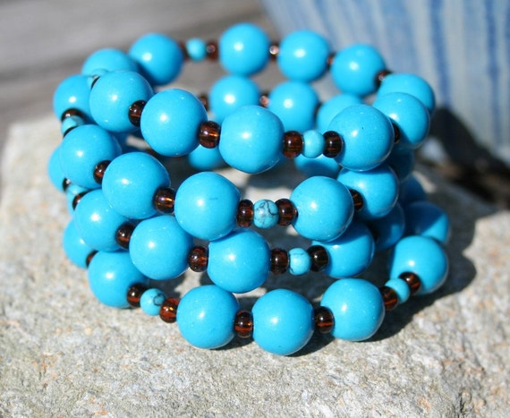 Turquoise Stone bead bracelet turguoise MEMORY band stainless steel