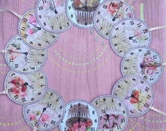 Cup Cake Clock Faces Gift Tags set of 12  No. 376