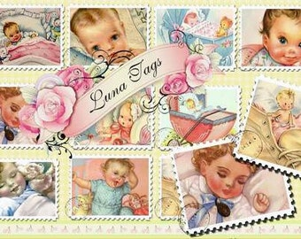 INSTANT DOWNLOAD Vintage Baby Stamps PNG Images No:197  Digital Download Backgrounds Gift Tags Scrapbooking Personal Use Only