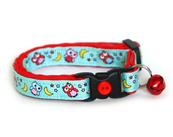 Owl Cat Collar - Night Owls on Blue - Small Cat / Kitten Size or Large Size
