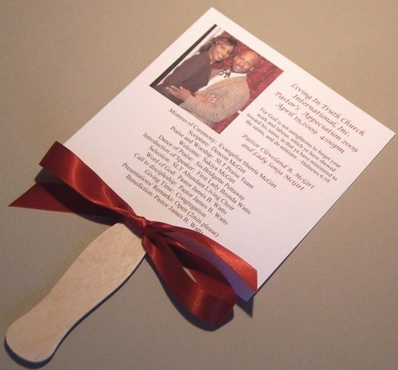 Pastor Appreciation Fan Program by CitrineDesigns on Etsy