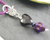 Purple Sugar Skull and Black Heart Pendant Keychain
