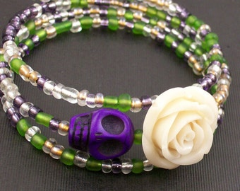 Sugar Skull and Ivory rose Memory wire Bracelet