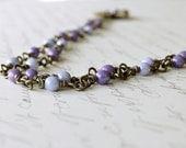 Purple Beaded Flower Necklace, Vintage Style Necklace, Brass Flower