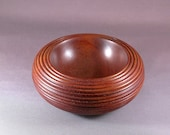 Mahogany Bowl - Hand turned wooden bowl with beads