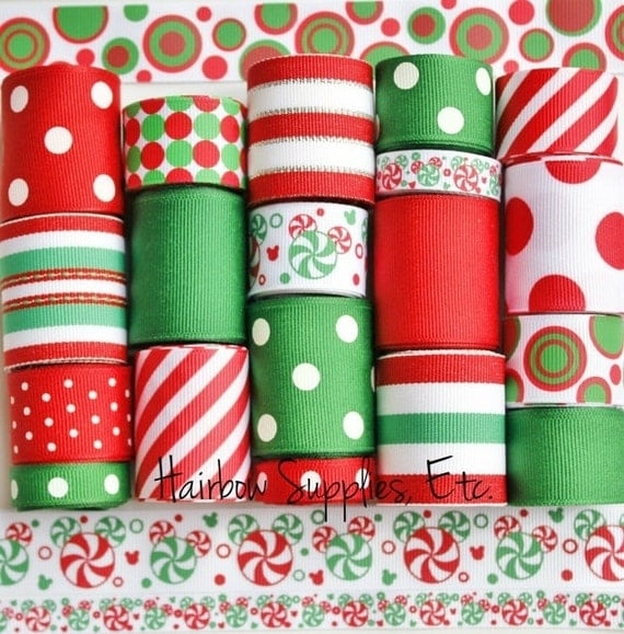 FREE shipping over 20.  Code: FALL20. Mouse Peppermint Swirl 19 yd Christmas Grosgrain Ribbon Lot - Hairbow Supplies, Etc.