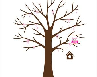Personalized Fingerprint Tree Baby Shower Guest Book Christening, Child Baptism Nursery Art, Custom color size text - DIGITAL PRINTABLE JPEG