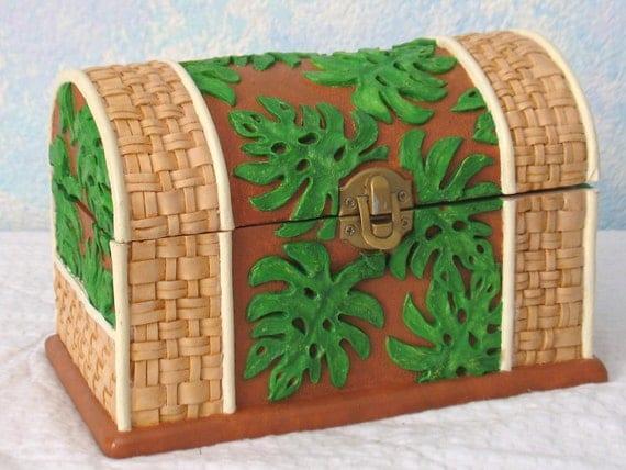 Handpainted Treasure Chest/Jewelry Box, Ceramic, Leaves and Wicker