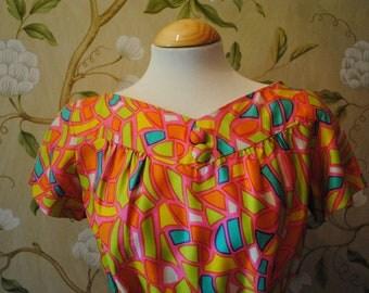 1960's Silk Neon Geometric Print Dress