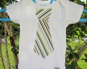 SALE - Baby Boy Stripes Tie Applique Onsie: Size 0-3 months