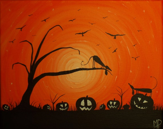 Happy Halloweenie No3 -  8 x 10, acrylic on canvas, ready to hang, ORIGINAL by Michael H. Prosper
