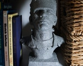 """Awesome Monster of Frankenstein Bust, One of a Kind in Stone that Glows In The Dark, 10"""" Bust Sculpture, Halloween Decoration"""