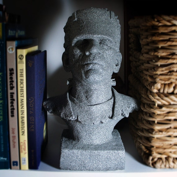 "Awesome Monster of Frankenstein Bust, One of a Kind in Stone that Glows In The Dark, 10"" Bust Sculpture, Halloween Decoration"