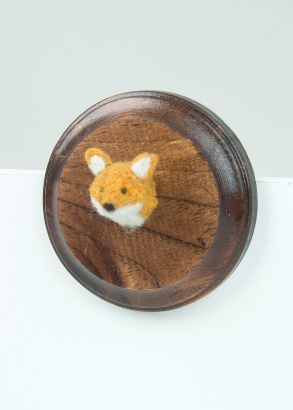Miniature Needle-felted Fox Mounted Head on Wooden Plaque