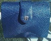Etienne Aigner Vintage Navy Blue Buntal Palm Purse w/ Gold Chain Strap