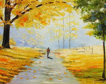 Original Painting Landscape Oil on canvas Palette Knife impasto autumn gold Trees Fall Yellow Park Colorful Textured painting art Marchella