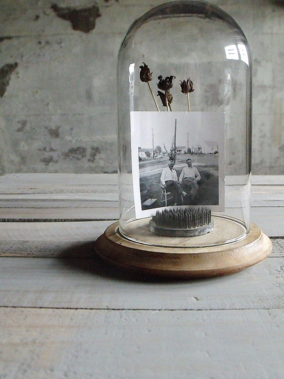 Glass Dome with Vintage Wooden Base