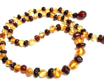 Cognac and Lemon  Baltic  Amber Necklace  19.7  inches.