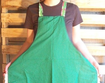 Green Upcycled 1920's Reproduction No-Tie Full Apron