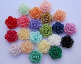 Flower Cabochons Resin Flowers 50pc mixed color resin Rose flower charms--8mm