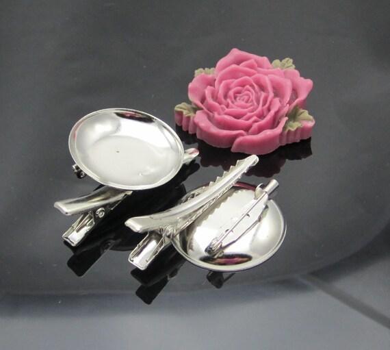 Good Quality--50pcs 25mm silver metal Hair Clip Brooch Pin Backings