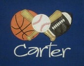 Sport themed embroidered applique tee...personalized
