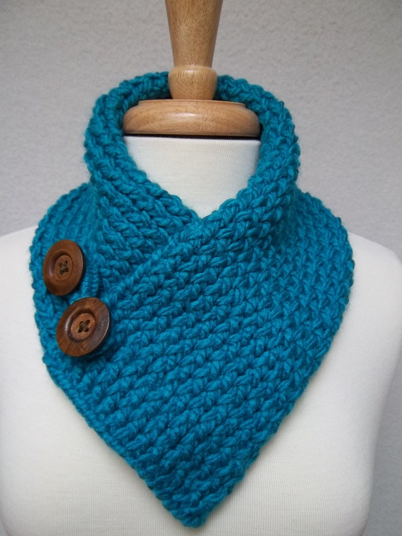 Knitting Pattern Scarf Neck Warmer : Scarf Knitted Turquoise Cowl Neck Warmer Buttoned Ski