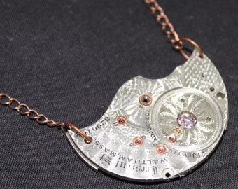 Beautiful Steampunk Inspired Necklace with Guilloche Engraved Pocket Watch Plate Pendant