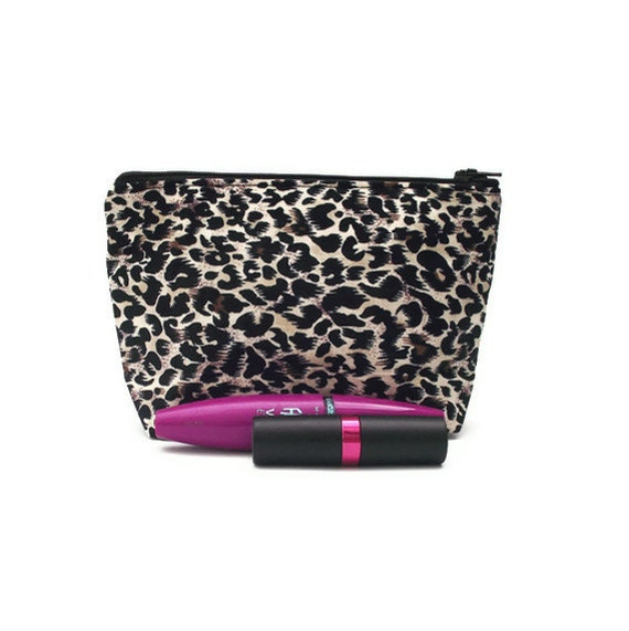 Cheetah leopard print cosmetic bag. Makeup storage. Womens accessory. Hot pink lining.