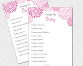 Well Wishes, I hope You, Baby Shower Game, Printable Girl Hot and Pale Pink and Charcoal Grey Gray Floral, Digital File