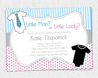 Gender Neutral Reveal Baby Shower Invitation, Printable, Little Man or Lady, Pink and Blue, Both Sexes, One pieces, DIY Digital File