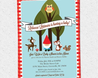 Printable Baby Shower Invitation, Woodland Animals Creatures Gnome, Forest, Deer, Owl, Squirrel, Fox, DIY digital gingham