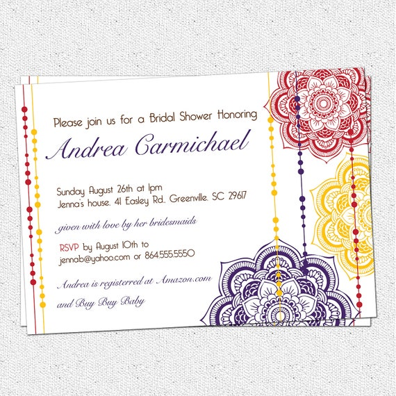 Printable Moroccan Bridal Shower Invitation, Floral, Elegant, Modern, Pick Your Colors, Custom, Personalized Custom DIY Digital File